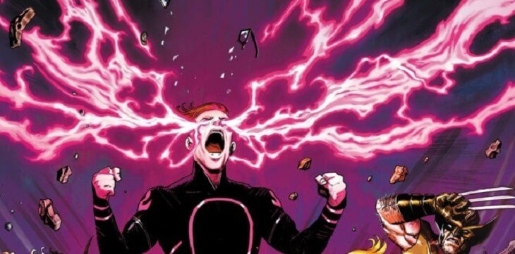 Quentin Quire screams, with pink psychic power coming from his eyes