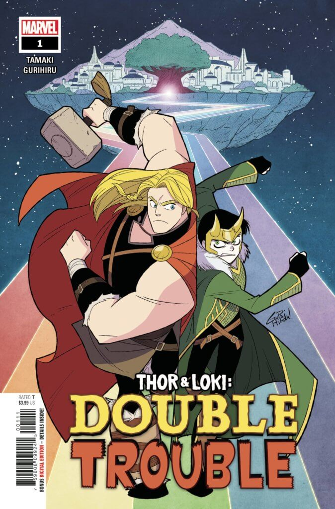 Loki and Thor stand in front of the rainbow bridge on the cover of Double Trouble