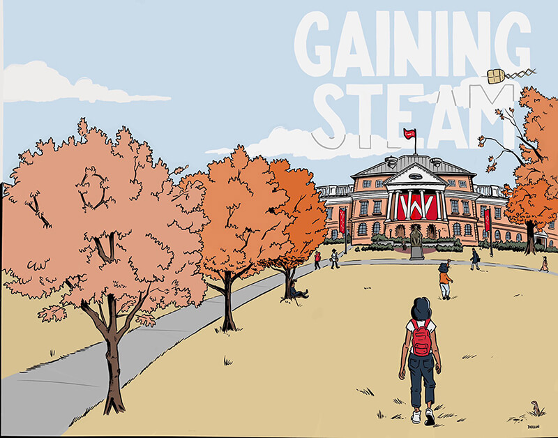 A crop of the cover of Gaining STEAM! A figure with neck-length black hair and a backpack walks across a huge lawn towards a University of Wisconsin building. The trees are adorned in pink and orange fall leaves. Gaining STEAM!, JKX Comics, 2021