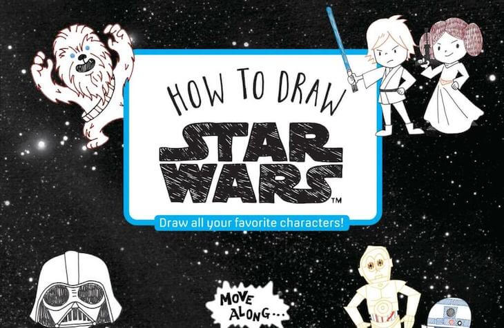 The cover of How To Draw Star Wars, including examples of the cute ink drawings that you can learn in this book, of various SW characters