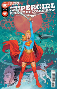 Supergirl holding a sword, in front of an alien girl and Krypto on the cover of Supergirl: Woman of Tomorrow #1