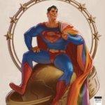 Superman holding a Pride flag over his shoulder