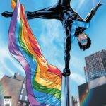Nightwing balancing on a Pride flagpole