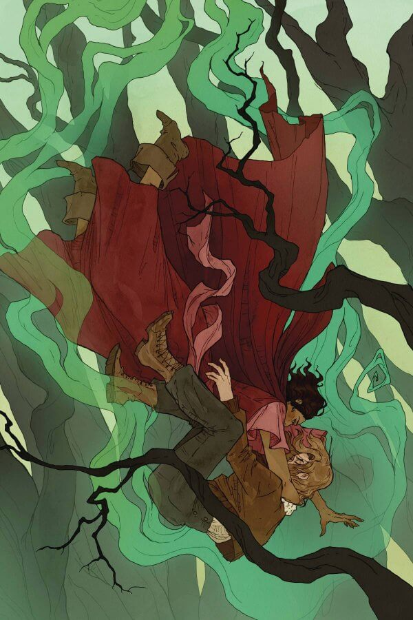 A woman in pants is falling thround the branches of trees, embraced by a woman in flowing red dress