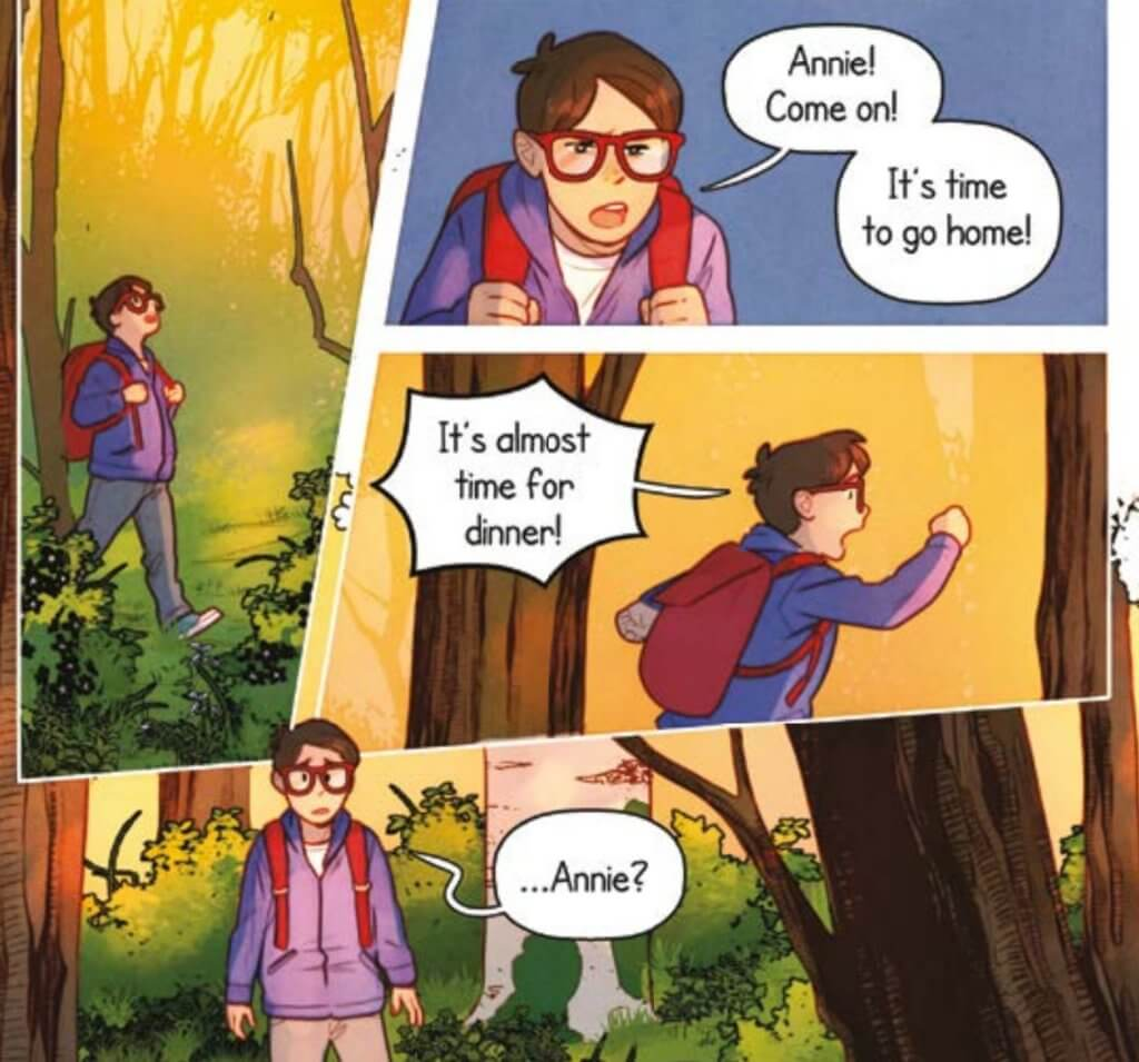 Panels from Magic Tree House: Dinosaurs before Dark, Graphic Novel, showing Jack looking for Annie