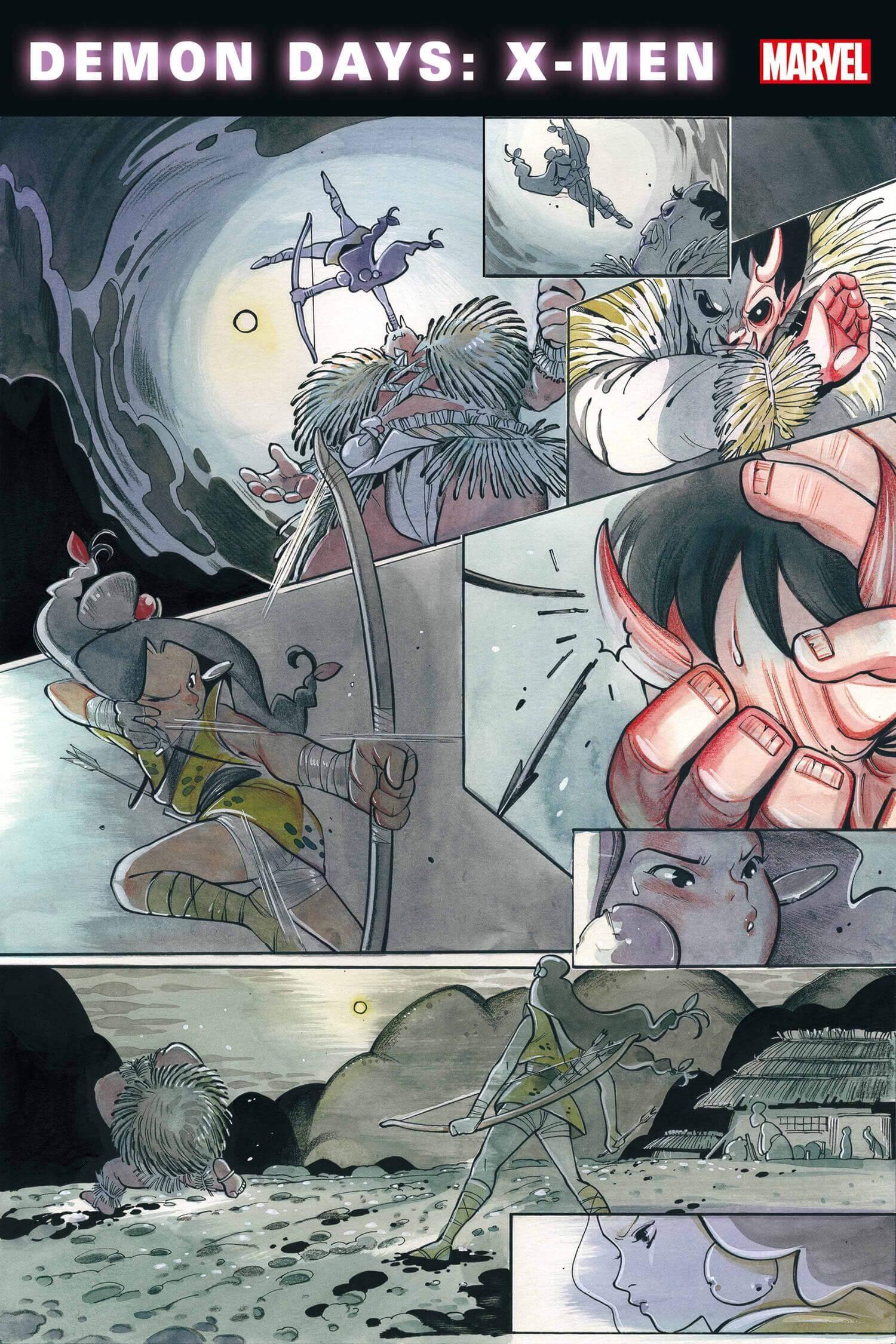 Demon Days: X-Men #1. Page 7. Zack Davisson (Translator), Ariana Maher (Letters), Peach Momoko (Writer and Artist) Marvel Comics February 24, 2021