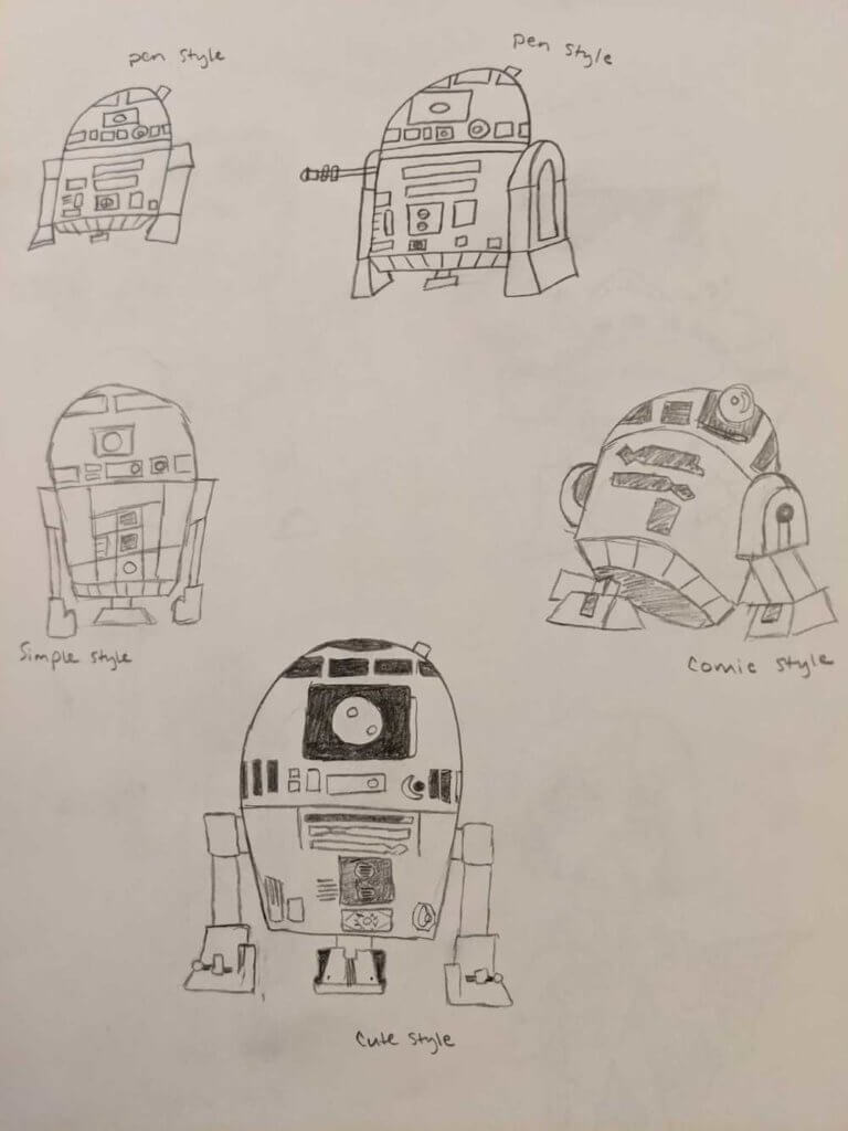 R2-D2 in 5 different art styles, as drawn by Jameson Hampton, based on VIZ Media's How To Draw Star Wars