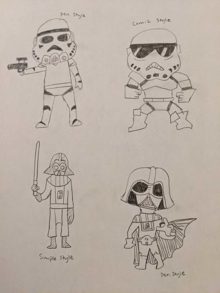 Stormtroopers in 2 art styles and Darth Vader in 2 art styles, as drawn by Jameson Hampton, based on VIZ Media's How To Draw Star Wars