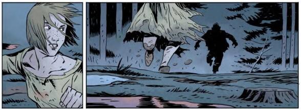 A woman runs through a dark forest away from a shadowy figure