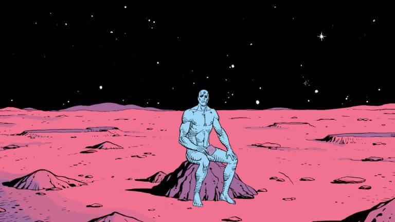 Dr Manhattan sits blue and naked on the moon