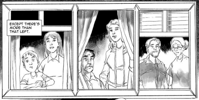 """A strip from What's Left? Three pairs of people, one young, one adult, and one elderly, look out of three different windows. The caption reads """"Except there's more than that left."""" What's Left, Arledge Comics, 2021."""
