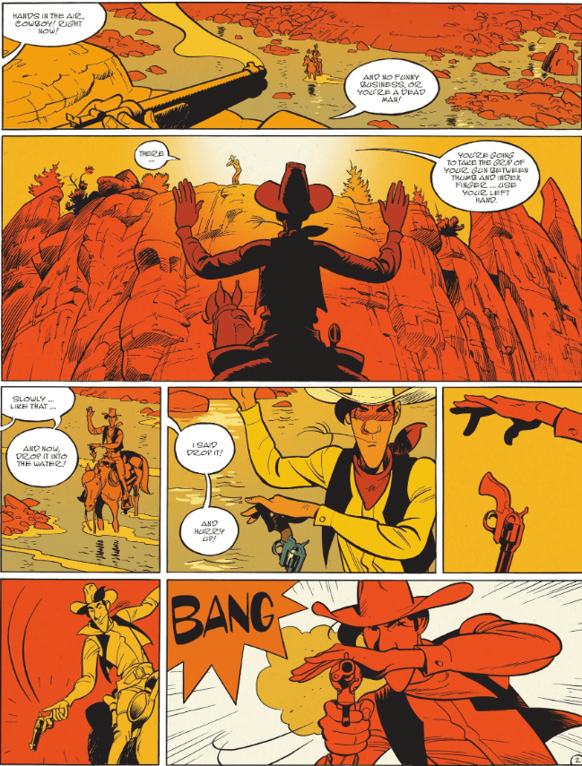 panels from Wanted: Lucky Luke (Izneo, April 2021)