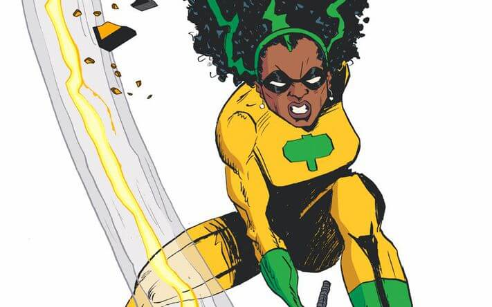 A costumed Black woman smashes down a big black hammer