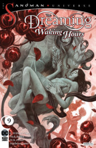 Ruin getting intimate with a Minotaur in grayscale over pinks and reds