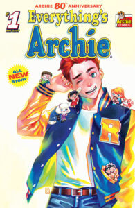 Archie Andrews - a red-headed teenager - stands with tiny chibi versions of his friends climbing over his body. He stands against a white backdrop