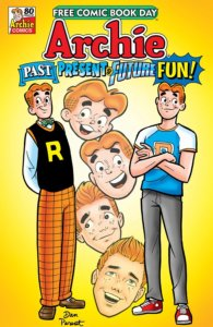 Various Archies are pictured against a yellow background. All of the redheaded beings are smiling cheerfully before the title image behind them