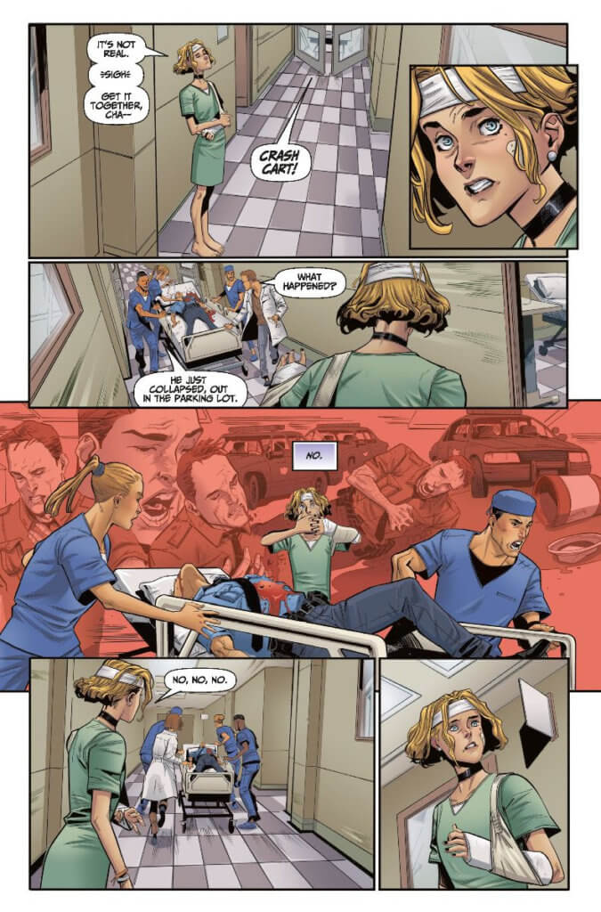 A page from the upcoming ExtraOrdinary #0, where a young womamn with short blond hair wanders the corridors of a hospital, and seems to be experiencing the trauma of a patient being rushed to surgery in her own mind.
