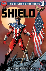 The Mighty Shield, a blond-haired and fit man in a patriotic costume holds on to the American flag in front of a red moon and a rust-colored background