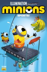 One Minion is running on a treadmill chasing after a bunch of bananas, on a fishing pole held by a second Minion behind them.