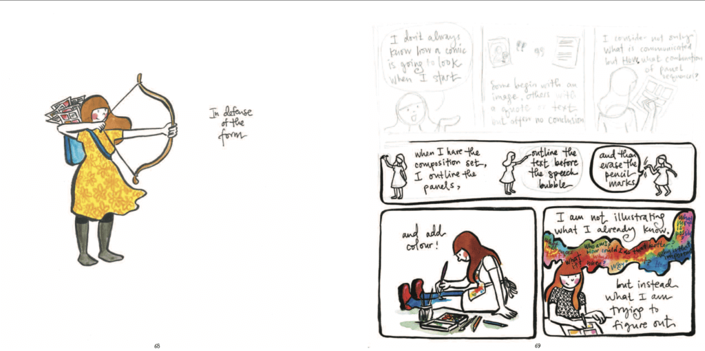 Panels from Teaching Artfully by Meghan Parker depicting someone with a bow and arrow on one side and the author's artistic process on the other