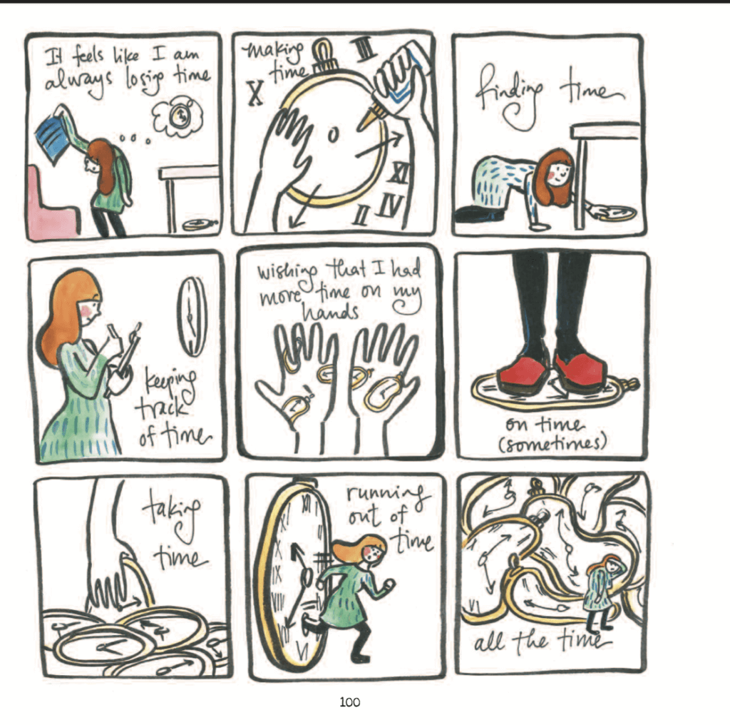 Panels from Teaching Artfully by Meghan Parker depicting a visual metaphor about time