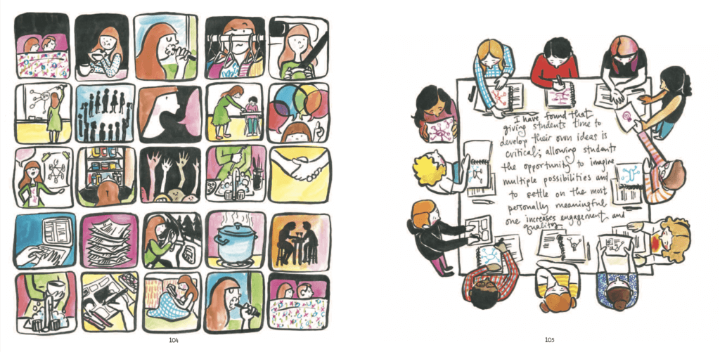Panels from Teaching Artfully by Meghan Parker depicting a day in someone's life on one side and the cover image of people drawing around a table on the other