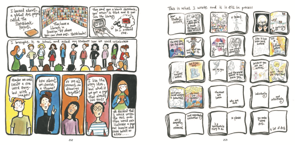 Panels from Teaching Artfully by Meghan Parker depicting the author at work