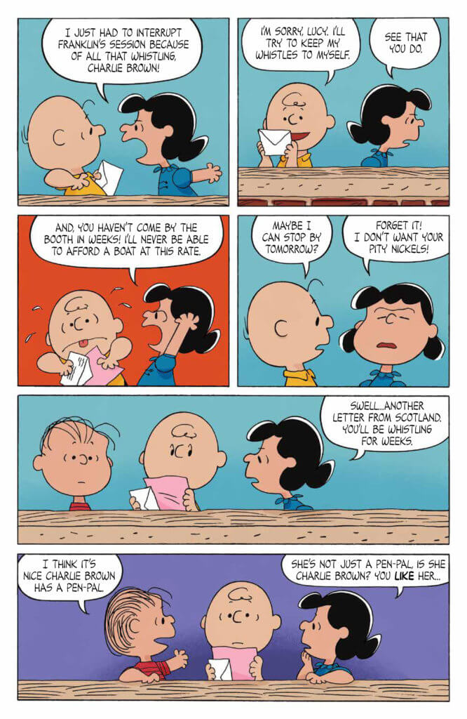 Lucy, Charlie Brown and Linus argue over Charlie's pen pal in comic art from the issue