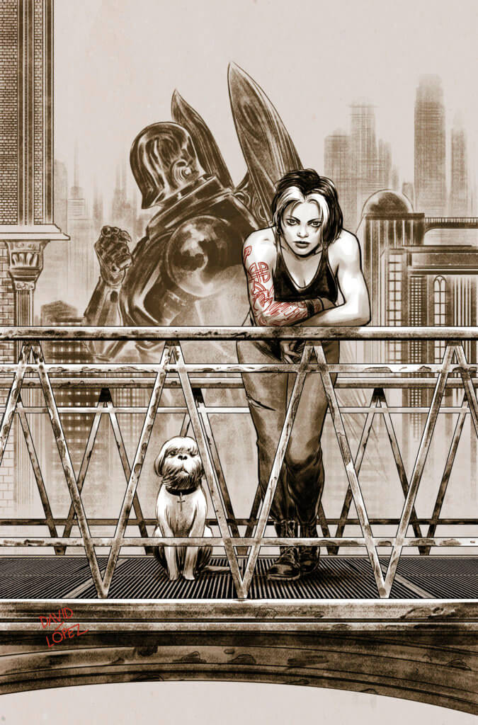 A girl and her dog on the footbridge to Silver City
