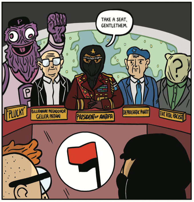 """The leaders of Antifa: a Gritty knockoff, a George Soros knockoff, a shadowy president, the Democratic party and """"the real racist"""""""