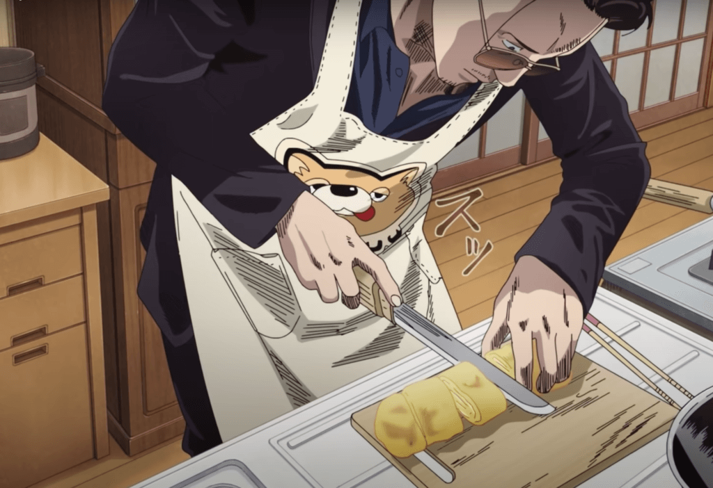 Tacchan cooking in Way of the Househusband.