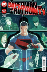 Superman at a computer with profiles of the Authority behind him