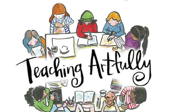 Cropped cover of Teaching Artfully by Meghan Parker depicting people drawing around a table and the text's title