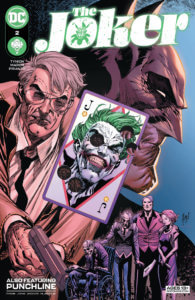 Gordon Holding a Joker Card while Batman looms in the background - The Joker #2 cover