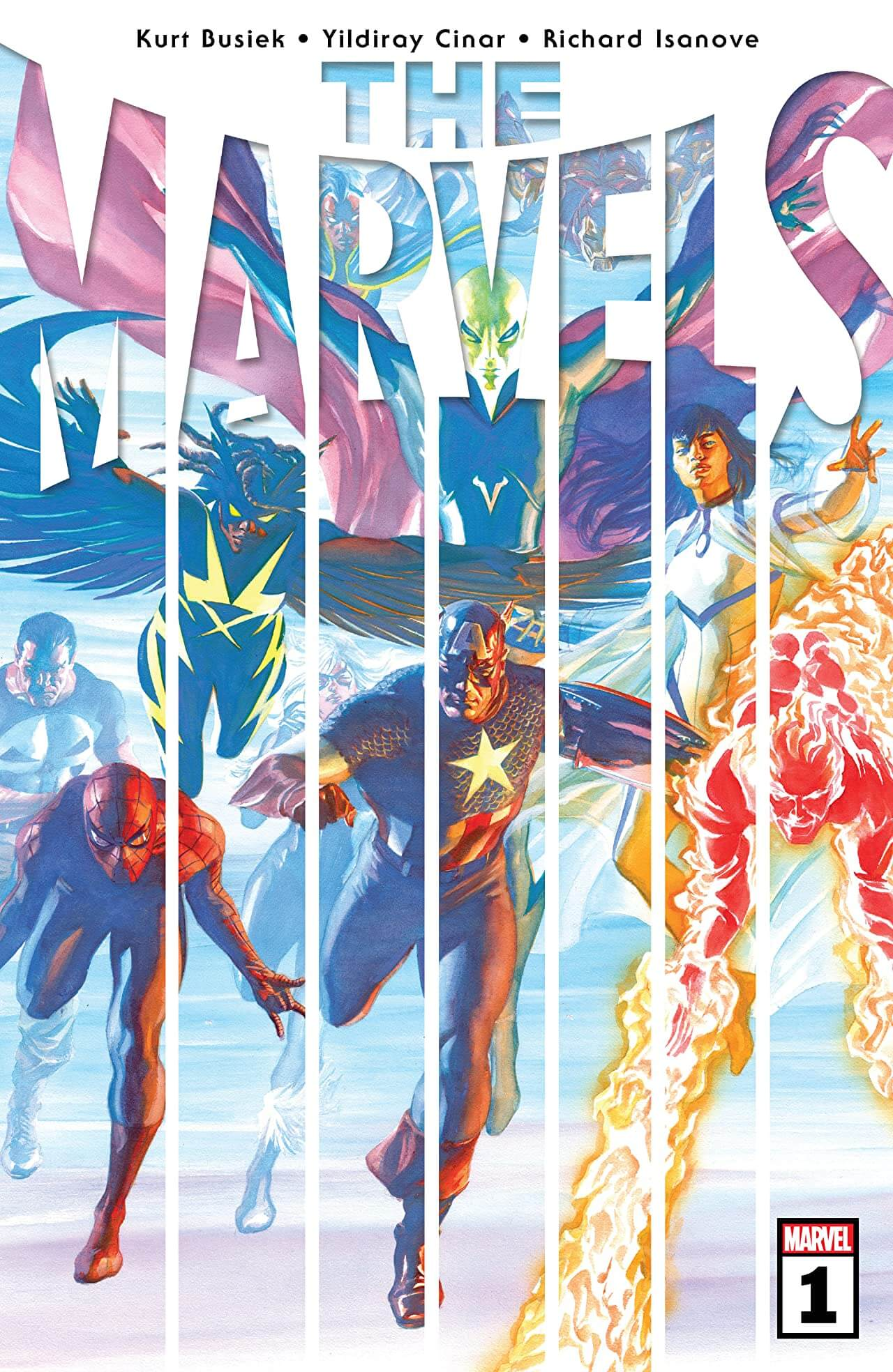 The Marvels #1 Cover by Alex Ross. Kurt Busiek (Writer), Simon Bowland (Letters), Yildiray Cinar (Artist), Richard Isanove (Colours) Marvel Comics April 28, 2021