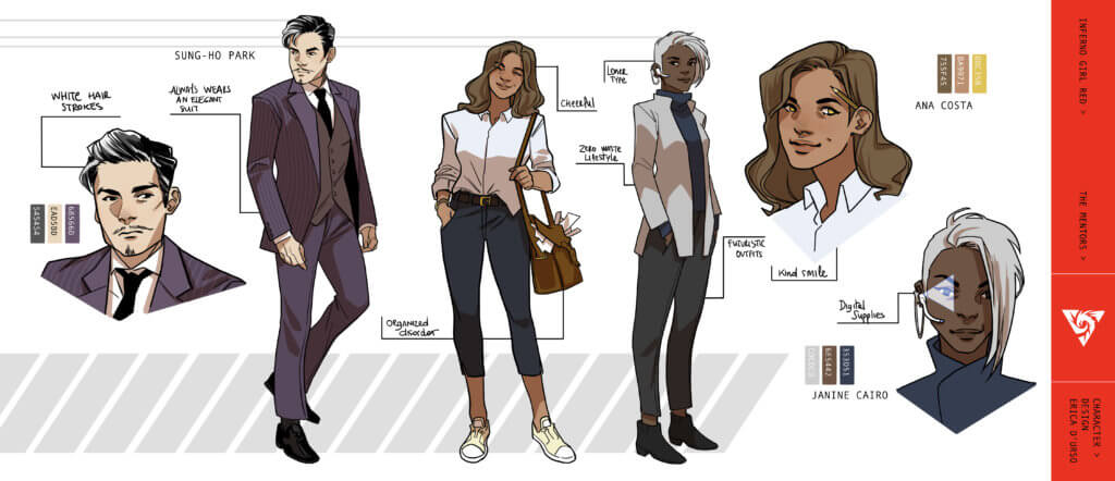 Character designs by Erica D'Urso for Inferno Girl Red
