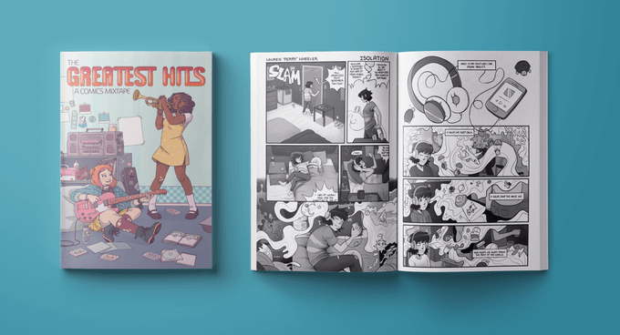 An interior and exterior mockup of The Greatest Hits. The cover a character with brown skin and wavy hair playing a trumpet next to a character with light skin and red hair playing an electric guitar while sitting on the floor. The interior pages are in black and white, rendered in rich gray tones. The Greatest Hits: A Comic Mixtape, Level Ground Comics.