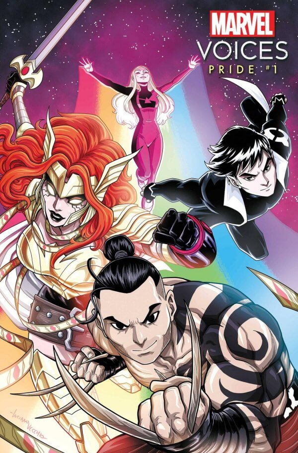 Cover of Marvel Voices: Pride #1 (Marvel Comics, June 2021) featuring characters such as Angela, Northstar, Daken