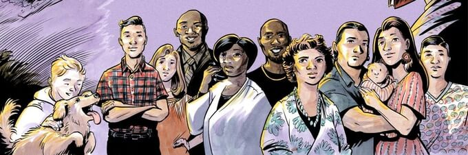 The wraparound cover illustration of all the storytellers from Our Stories Carried Us Here. 11 people (and one dog) of varied skin colors and ages stand in a loose row. Two people hold a baby together. Our Stories Carried Us Here, Green Card Voices, 2021. Cover artwork by Nate Powell.