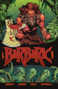 A vicious looking barbarian yells, brandishing a wicked looking axe with a face and a blood filled mouth