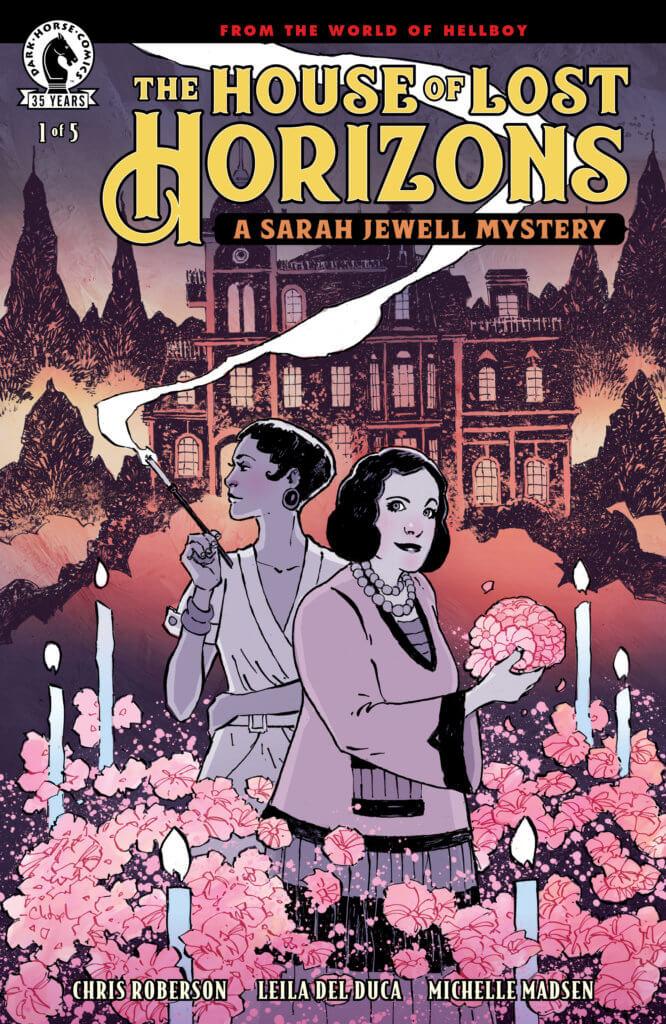 Two women stand in a garden in front of a dark mansion