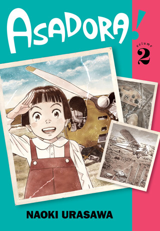 Cover of Asadora volume 2 depicting the protagonist posing for a photograph in front of a plane.