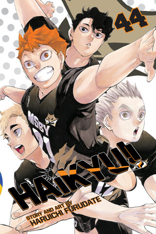 cover of Haikyu!! volume 44 depicting protagonist Hinata Shouyou and 3 of his teammates.
