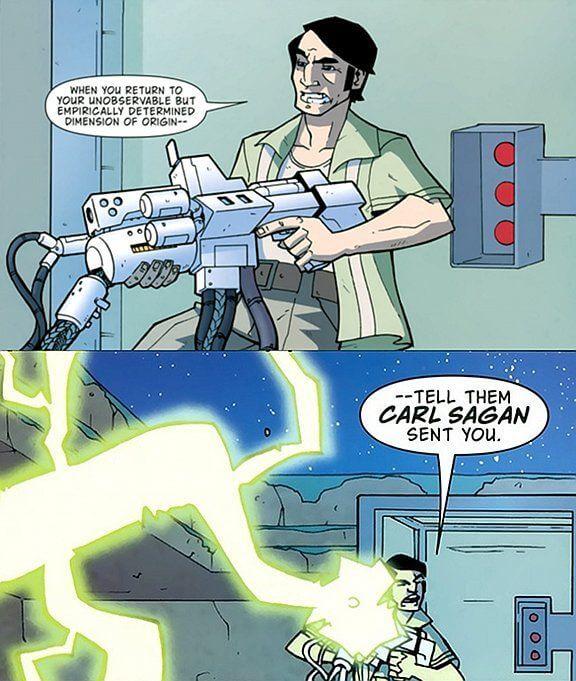 Carl Sagan cuts loose with his ray gun