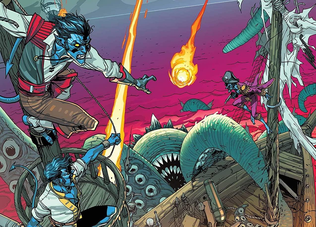 A pirate ship is attacked by a tentacled monster. The crew, all Nightcrawler, fight it off