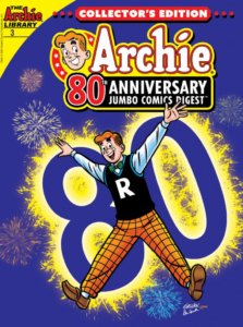 Archie Andrews, wearing his classic white shirt/green bowtie/black letterman vest and yellow checkered pants - jumps into an orchid colored sky. Fireworks are in bloom over his shouldersand behind him is a golden backlit 80