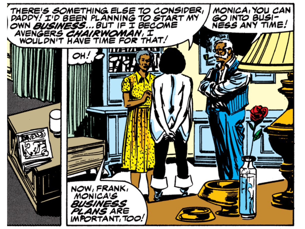 Monica Rambeau discusses her Avengers nomination with her parents.