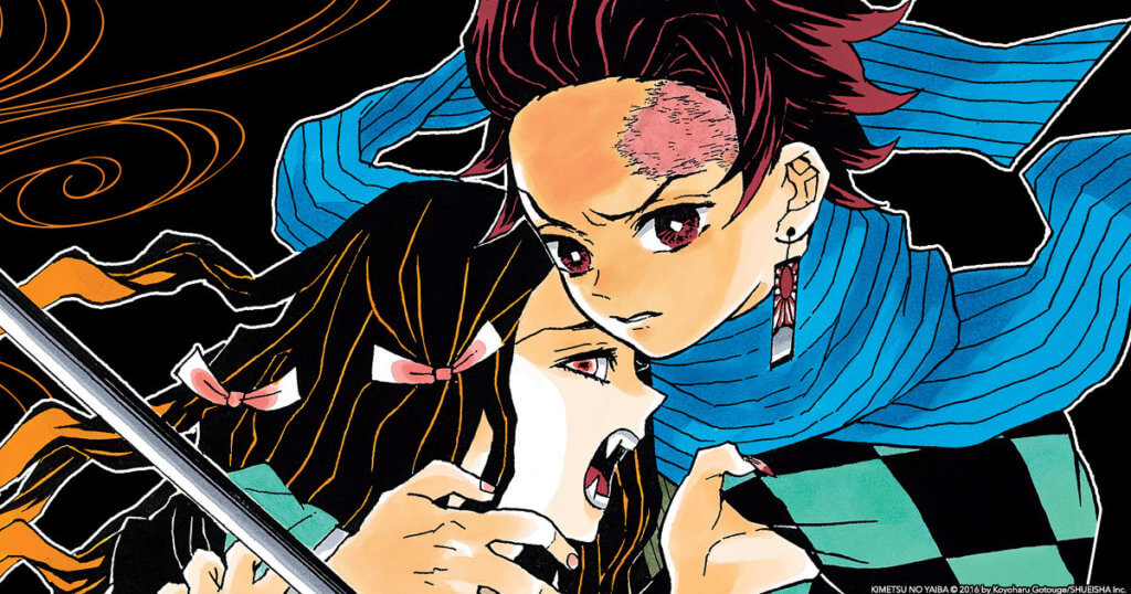 promotional image for Demon Slayer volume 1 depicting the two main characters together.