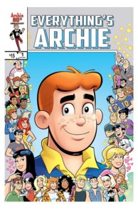Archie Andrews, a teenager in a blue and gold shirt and sweater combo, stands before a blue backdrop and smiles. He's surrounded by images of his friends, enemies, and family.