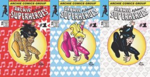 In a parody of the Cover of Amazing Spider Man #30, Veronica Lodge, Betty Cooper and Valerie Brown crouch and jump in the center of a golden light. Each one wears pajamas, and the background of each cover is printed over with a symbolic item - in Valerie's case, music notes, in Betty's hearts, in Veronica's diamonds
